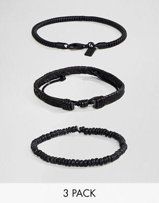Icon Brand - Set van 3 zwarte geweven armbanden