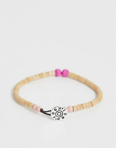 Icon Brand wood bead bracelet in beige
