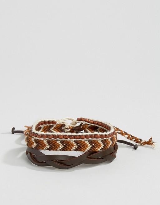 Icon Brand Woven Bracelet Pack In Black/Brown