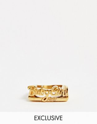 Image Gang Exclusive 'babygirl' slogan chunky gold plated ring