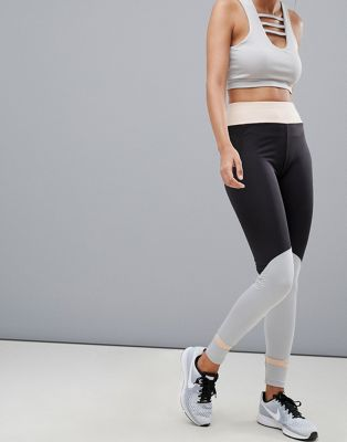 In The Style contrast leggings with mesh panel
