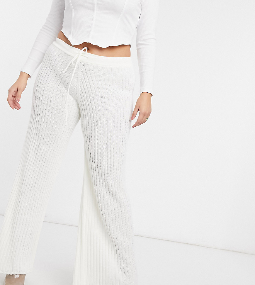 x Lorna Luxe lullaby coordinating ribbed wide leg pants in ecru-White