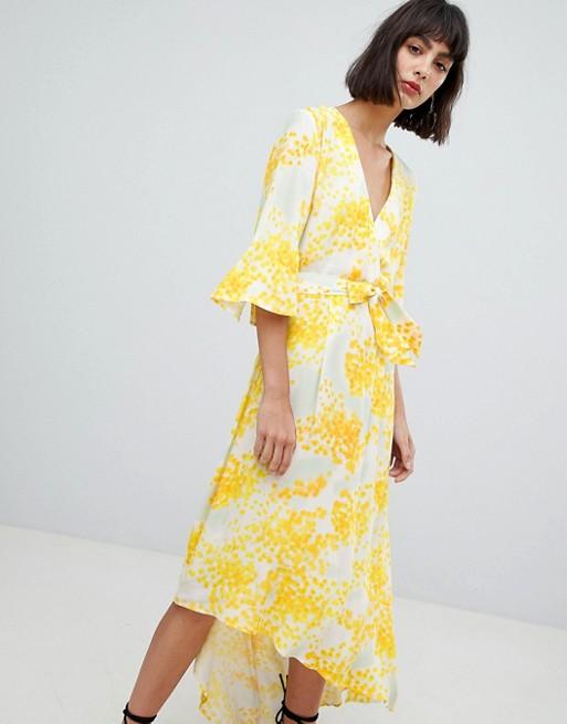 Image 1 of In Wear Selia Asymmetric Hem Print Dress