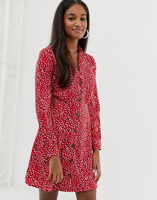 Influence button down collar detail dress in splodge print