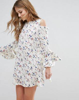 Influence Cold Shoulder Bell Sleeve Dress