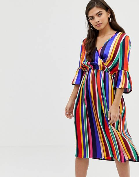 Influence flared sleeve wrap dress in rainbow stripe