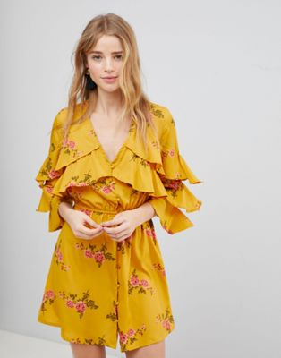 Influence Floral Ruffle Detail Dress