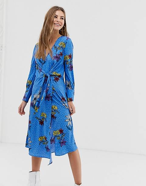 Influence knot asymmetric wrap front floral midi dress in blue