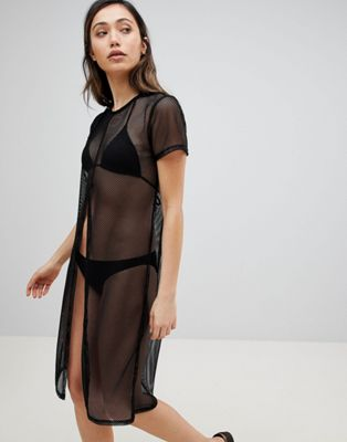 Influence Maxi Split Front Mesh Beach Cover Up