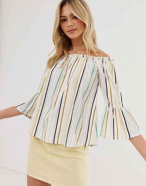 Influence off shoulder top with flared sleeves in natural stripe