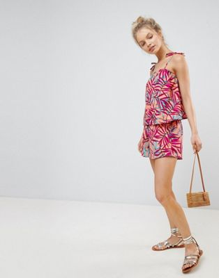 Influence Palm Print Layered Beach Playsuit