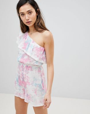 Influence Pastel Tie Dye Aysmmetric One Shoulder Beach Playsuit