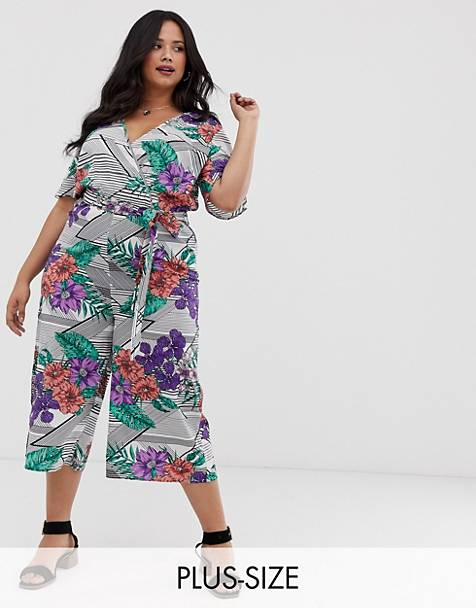Influence Plus culottes jumpsuit in stripe floral mix