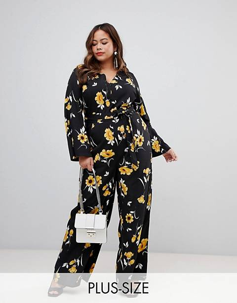 Influence Plus flared sleeve button detail wide leg jumpsuit in floral print