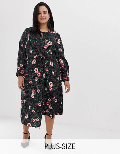 Influence Plus knot front asymmetric wrap dress in floral and polka dot print