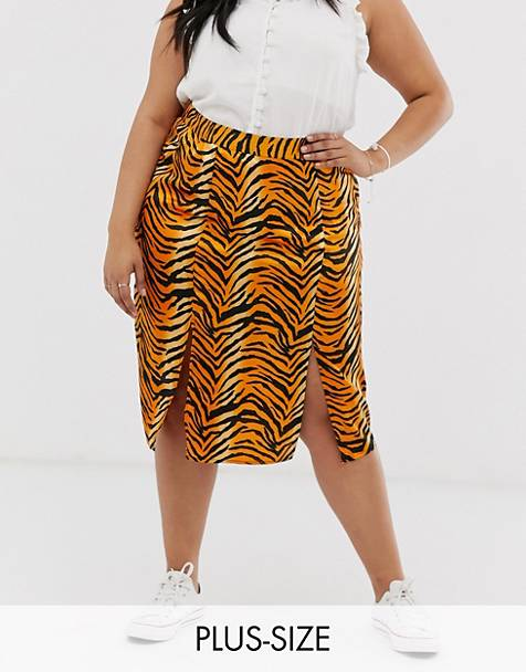 Influence Plus midi skirt in tiger print