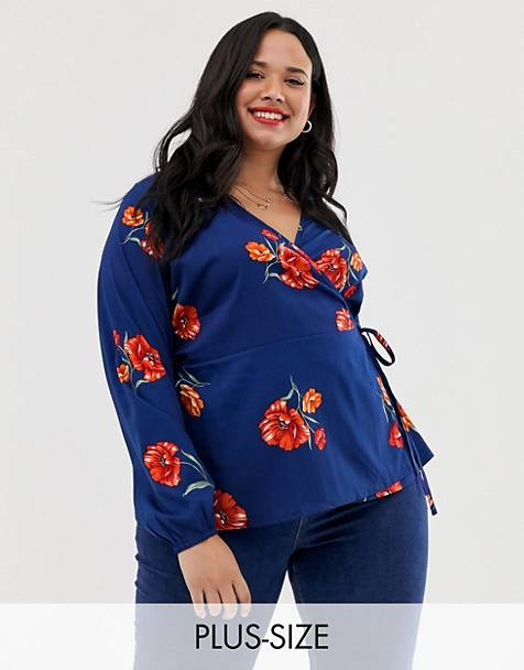 Influence Plus wrap tie blouse with flutter sleeve in red floral