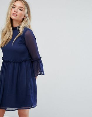 Influence Smock Dress With Flare Sleeve