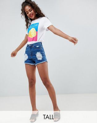 Influence Tall Distressed Denim Shorts