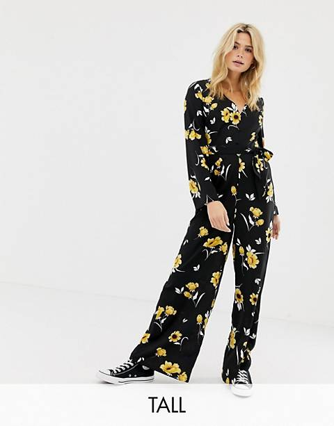 Influence Tall flared sleeve button detail wide leg jumpsuit in floral print
