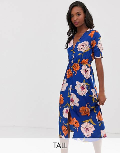 Influence Tall floral midi dress with shirred sleeves