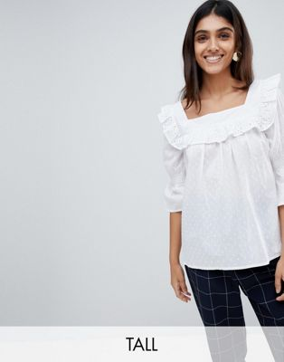 Influence Tall Square Neck Broderie Top