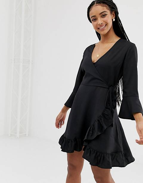 Influence wrap dress with frill detail