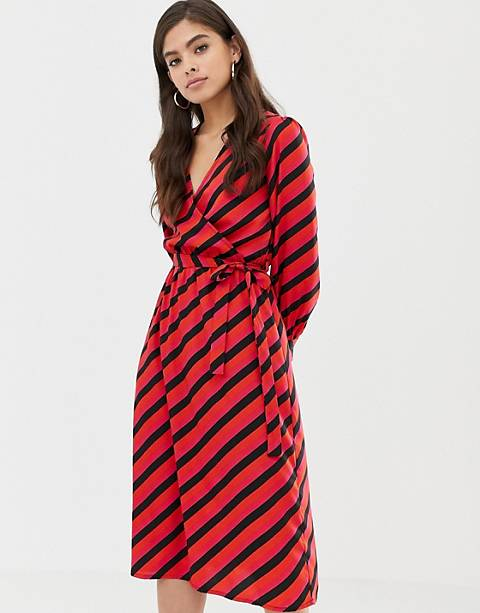 Influence wrap midi dress in diagonal stripe