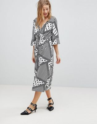 Influence Wrap Midi Dress With Flared Sleeve In Spot & Stripe Print