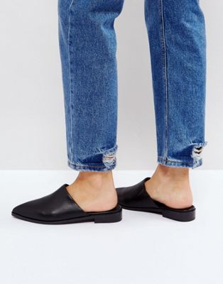 Intentionally Blank Black Titan Leather Flat Mules