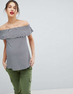 Image 1 of Isabella Oliver Ruffle Bandeau Top In Stripe