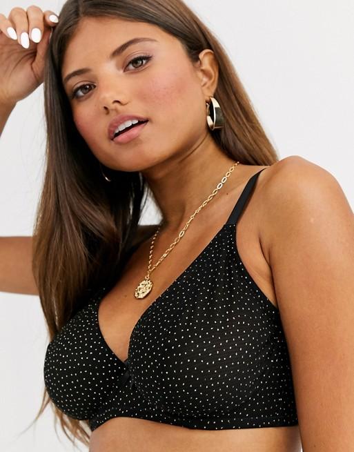 Ivory Rose Fuller Bust high apex glitter spot mesh bra in black and gold
