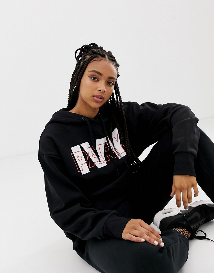 Ivy Park Layer Logo Hoodie In Black by Ivy Park