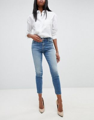 J Brand Alana High Rise Crop Skinny Jeans With Raw Hem
