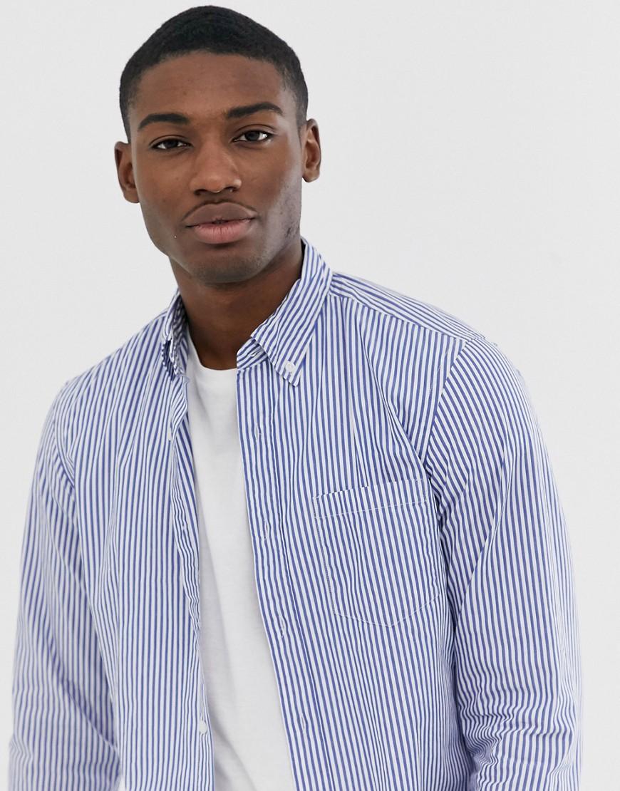 J Crew Mercantile slim fit stripe button down flex washed shirt in harbor view blue