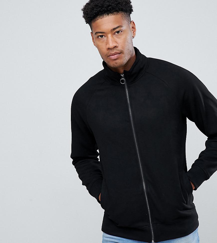 Jacamo faux suede funnel neck jacket in black