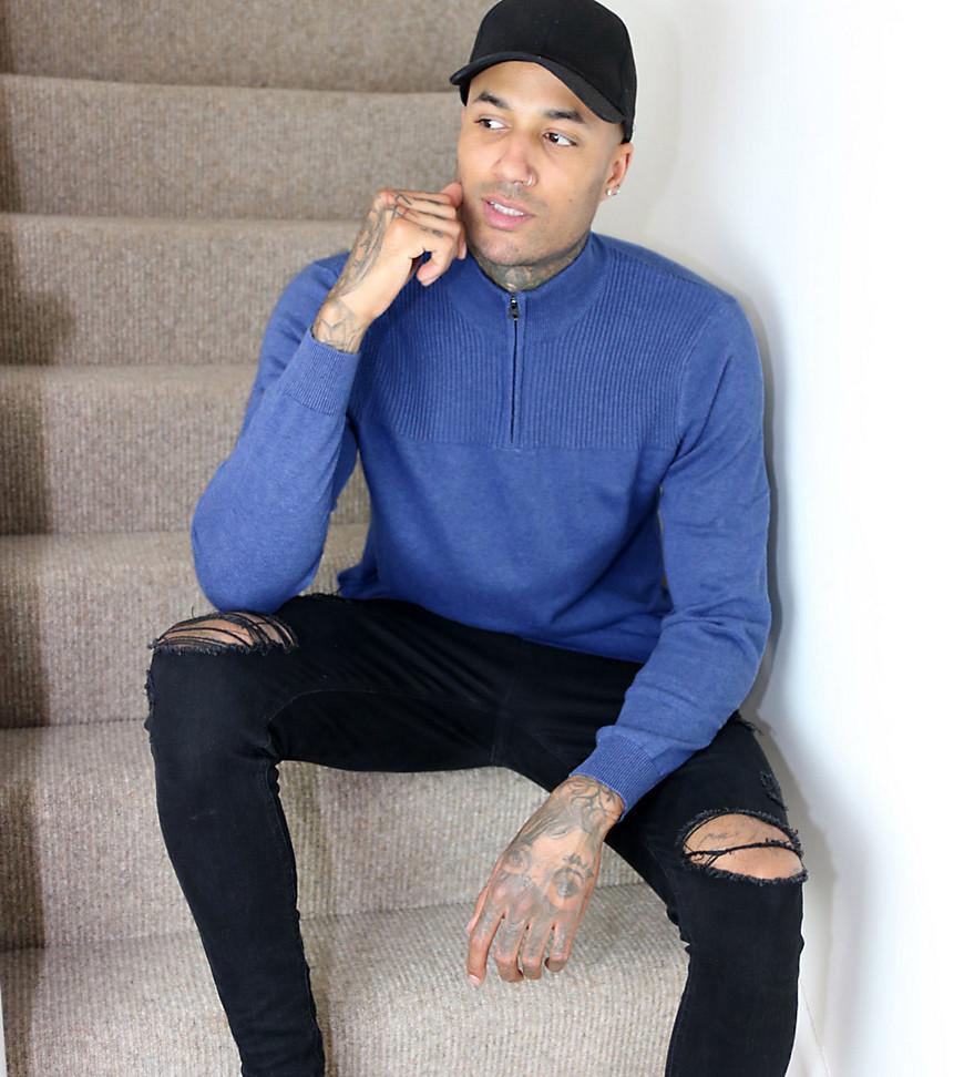 half zip sweatshirt in blue-Blues