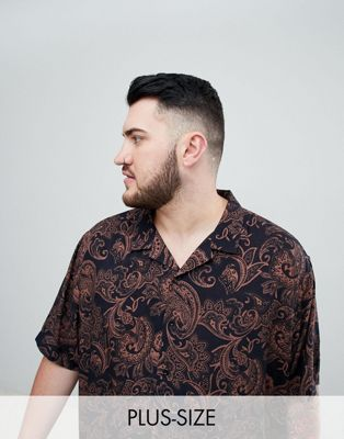 Jacamo – Kurzärmliges Hemd mit Reverskragen und Paisleymuster