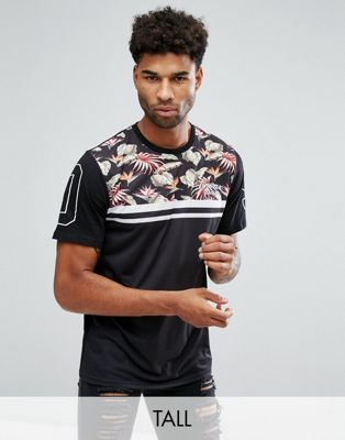 Jacamo TALL T-Shirt With Floral Panel In Black