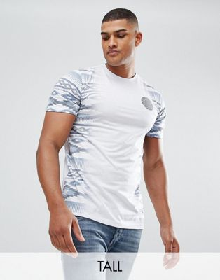 Jacamo TALL T-Shirt With Geo-Tribal Fade In White