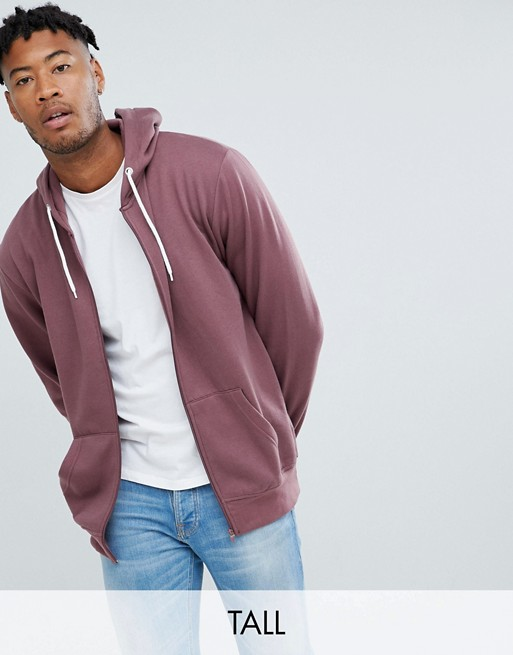 Jacamo Tall zip through hoodie in pink
