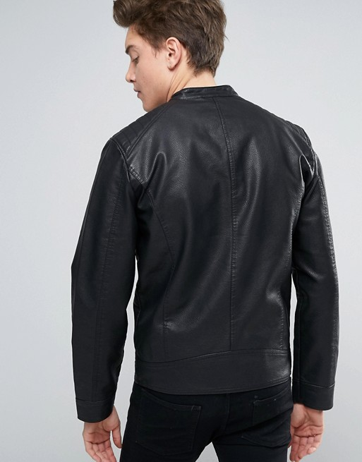 9a9f4cae62df00 Jack   Jones Core Biker Jacket In Faux Leather