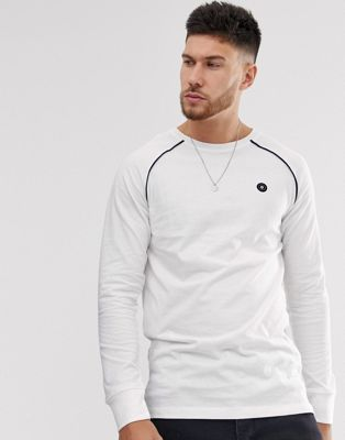 Jack & Jones Core long sleeve t-shirt with raglan tipping in white pique
