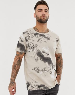 Jack & Jones Core waffle printed oversized t-shirt in tan