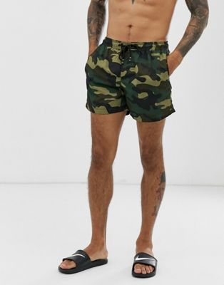 Jack & Jones Intelligence camo swim short in green