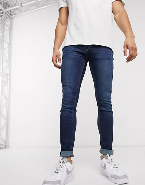 Jack & Jones Intelligence skinny jeans in mid blue wash