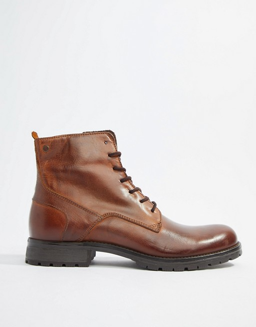 Image 1 of Jack & Jones leather lace up boots