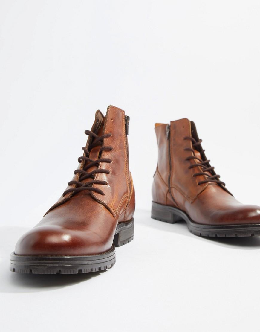 Jack & Jones Leather Lace Up Boots by Jack & Jones