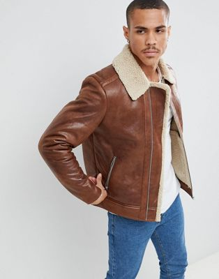 Jack & Jones Originals faux leather flight jacket with full teddy lining