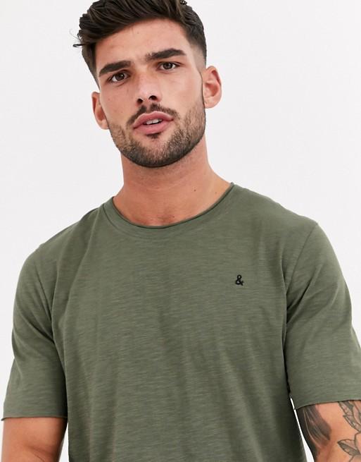 Jack & Jones Originals - Kakifarvet t-shirt med lagdelt kant og rå ender